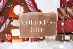 Gingerbread House With Sled, Snowflakes, Weihnachtsfeier Means Christmas Party Stock Photos
