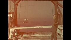 Vintage 16mm film, 1946 Sarasota Beeline ferry, arrival and disembarking #2 Stock Footage
