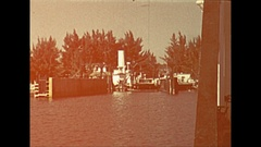 Vintage 16mm film, 1946 Sarasota Beeline ferry, arrival and disembarking Stock Footage