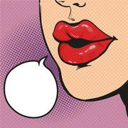 Woman mouth pop art comic vector Stock Illustration