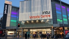 Front of INTU Victoria Centre - shopping mall - Nottingham, England. Stock Footage