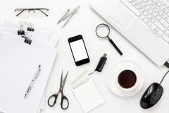 Top view accessories office desk concept. Stock Photos