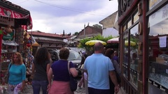 Tourists visiting the old street of the historic town of Safranbolu Stock Footage