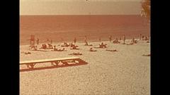 Vintage 16mm film, 1946 Sarasota the beach Stock Footage