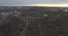 Camera rises over the Bridge in Kamianets-Podilski Stock Footage