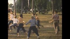 Vintage 16mm film, 1948 Sarasota boys basketball outdoors #2 Stock Footage