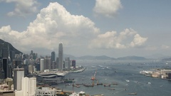 Time lapse of Hong Kong Victoria Harbor City skyline Stock Footage