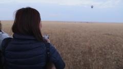 Girl inside hot air balloon. Stock Footage