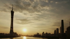 Guangzhou Pearl River Beautiful Scene at Sunset Stock Footage