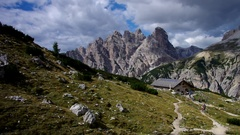 Lange Alm, an Alpine club hut in Dolomites in Italy Stock Footage
