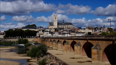 The town Nevers in Burgundy, cathedral and river Loire, France Stock Footage