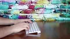 Keyboard on color bricks Stock Footage