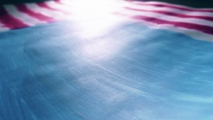 Stars falling on painted American flag, the symbol of the USA. Super slow motion Stock Footage