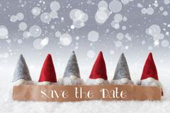 Gnomes, Silver Background, Bokeh, Snowflakes, English Text Save The Date Stock Photos