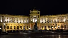 Night Hofburg palace in Vienna Stock Footage