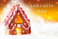 Gingerbread House, Golden Background, Weihnachtsfeier Means Christmas Party Stock Photos