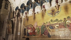 Pan shot of a  mosaic inside the church of the holy sepulchre Stock Footage