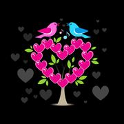 Love tree with two birds Stock Illustration