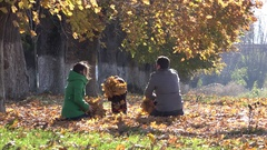 Young parents and little child throwing with autumn leaves, playful family Stock Footage