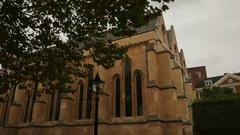 POV walking shot around the famous Temple Church in London, UK Stock Footage