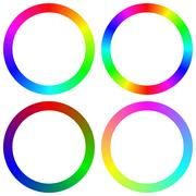 Isolated gradient rainbow circle color palette set Stock Illustration