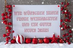 Label, Snowflakes, Christmas Balls, Gutes Neues Means New Year Stock Photos