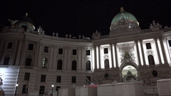 Imperial architecture of Vienna city at night Stock Footage