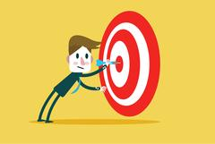 Corporate Guy Hits a Bulls-eye. Stock Illustration