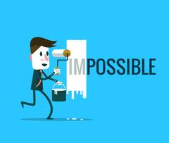 "Businessman turning the word ""Impossible"" into ""Possible"". Stock Illustration"