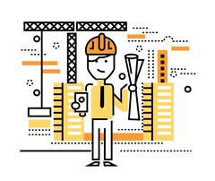 Construction worker standing on building site. Stock Illustration