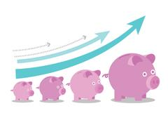 Pink piggy banks increasing in size with growth arrows. Piirros