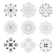 Regular Shape Doodle Ornamental Figures In Monochrome Colors For The Zen Adult Stock Illustration