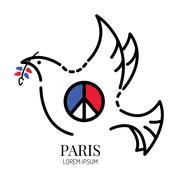 Peace symbol Paris with dove. Piirros