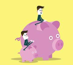 Business people with them piggy bank. Stock Illustration