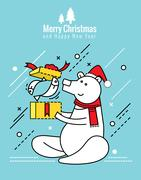 Polar bear with christmas gift box.  christmas and happy new year concept. Stock Illustration