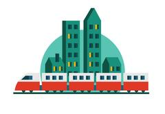 Train, Skyscrapers and railway. Stock Illustration