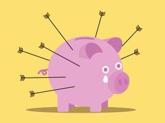 Arrows attack piggy bank. business risk concept. Stock Illustration