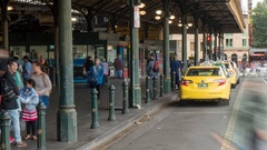 Taxis at Flinders Street Station, Melbourne, Victoria, Australia Stock Footage