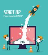 Business people control rocket launching on desktop. Stock Illustration