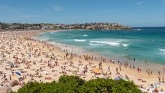 Bondi Beach, Sydney, New South Wales, Australia Stock Footage