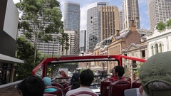 Open top bus tour of Sydney, Sydney, New South Wales, Australia Stock Footage