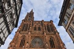 Cathedral Notre Dame of Strasbourg, Bas Rhin, Alsace Stock Photos