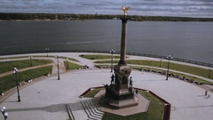Monument on the Strelka park Yaroslavl Russia, aerial view Stock Footage