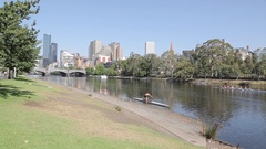 Rowing Club, Yarra River and City, Melbourne, Victoria, Australia Stock Footage