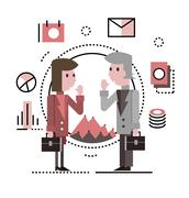 Two business people talking and discussing. Stock Illustration