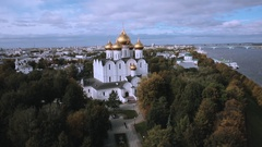 Top view of the assumption Cathedral of Yaroslavl Stock Footage