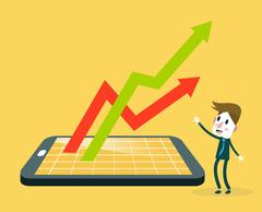 Businessman watching smartphone with stock market application and growth graph. Stock Illustration