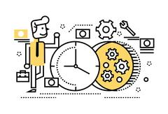 Businessman repair the clock, concept of time management, rebuild, busy. Stock Illustration