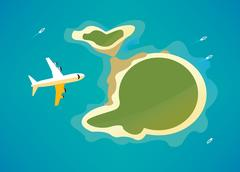 Plane over the tropical island. Piirros