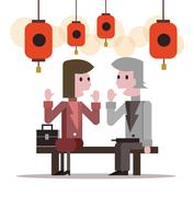 Two business people talking at lantern festival. Stock Illustration